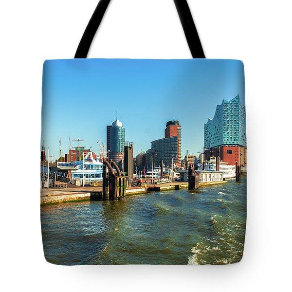 Panoramic View Of Hamburg. Tote Bag