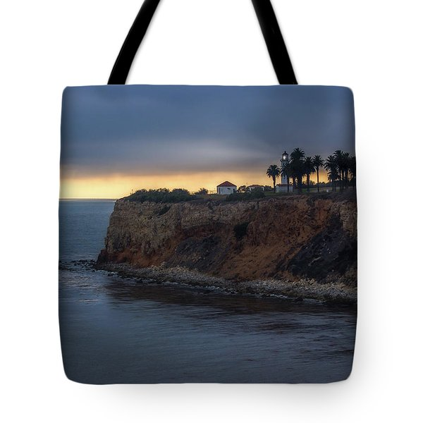 Tote Bag featuring the photograph Point Vicente Lighthouse At Sunset by Andy Konieczny