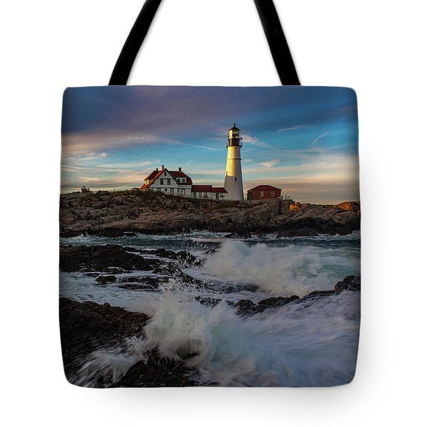 Tote Bag featuring the photograph Portland Headlight by Rick Hartigan