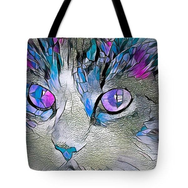 Purple Stained Glass Kitty Tote Bag