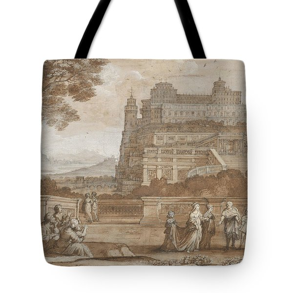 Queen Esther Approaching The Palace Of Ahasuerus Tote Bag