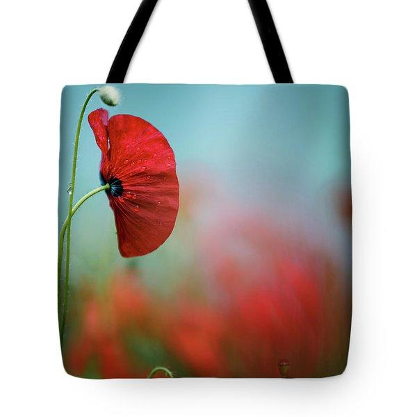 Red Corn Poppy Flowers Tote Bag