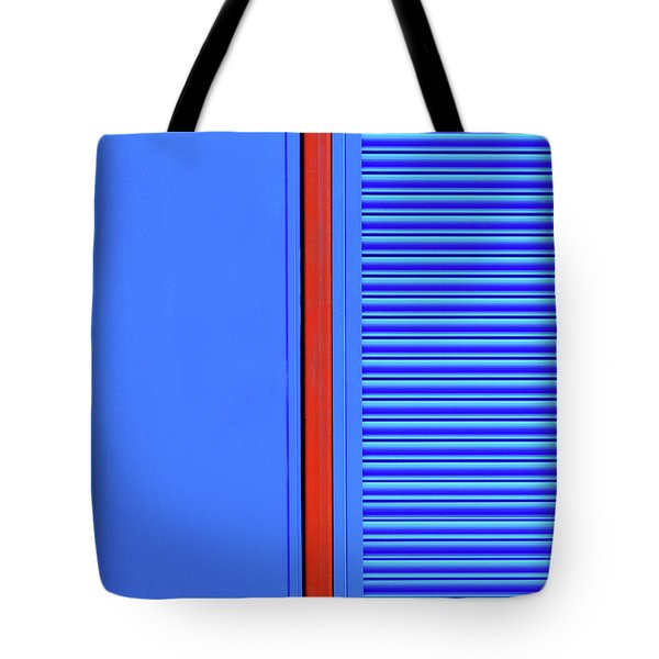 Blue With Red Stripe Tote Bag