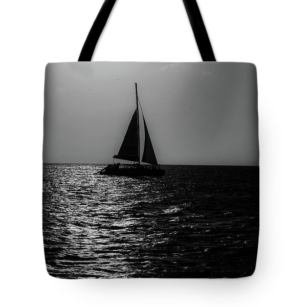 Sailing Into The Sunset Black And White Tote Bag