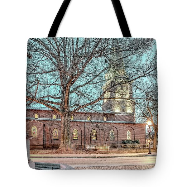 Tote Bag featuring the photograph Saint Annes Circle With Fountain by Jim Proctor