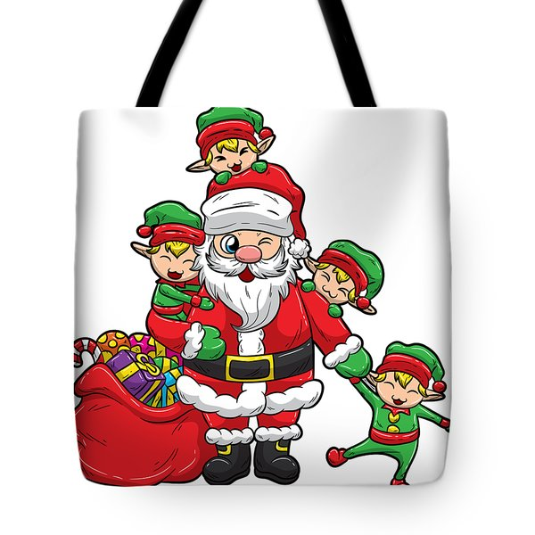 Santa Claus With Elves Christmas Illustration Tote Bag