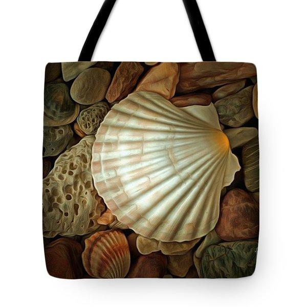 Shell On Sea Pebble Stones Tote Bag