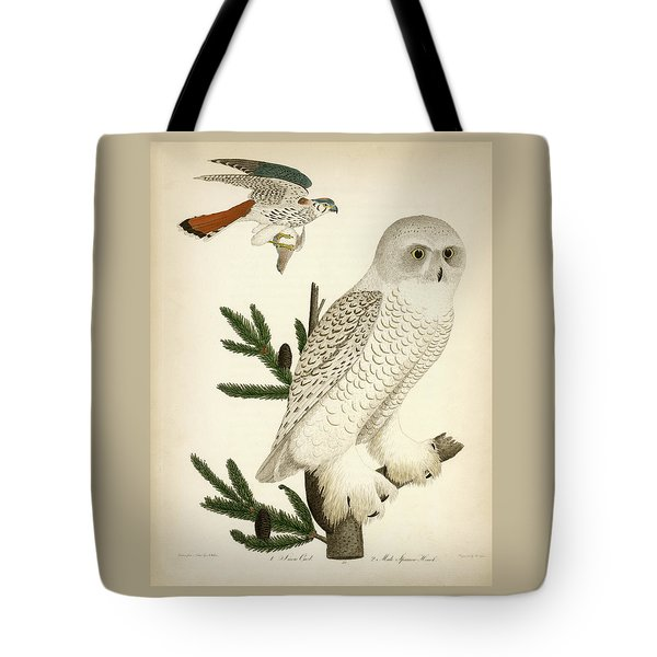 1. Snow Owl. 2. Male Sparrow-hawk. Tote Bag