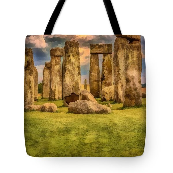 Tote Bag featuring the painting Stonehenge by Harry Warrick
