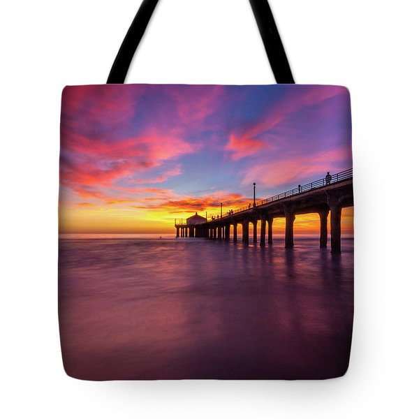 Stunning Sunset At Manhattan Beach Pier Tote Bag