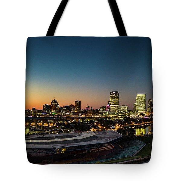 Tote Bag featuring the photograph Summerfest Sunset by Randy Scherkenbach