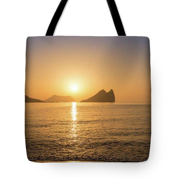 Sunrise On A Beach In Aguilas, Murcia Tote Bag