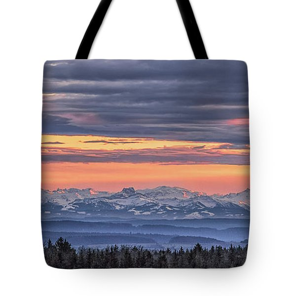 Tote Bag featuring the photograph Sunset Over The Alps by Bernd Laeschke