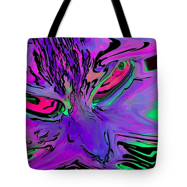 Super Duper Crazy Cat Purple Tote Bag