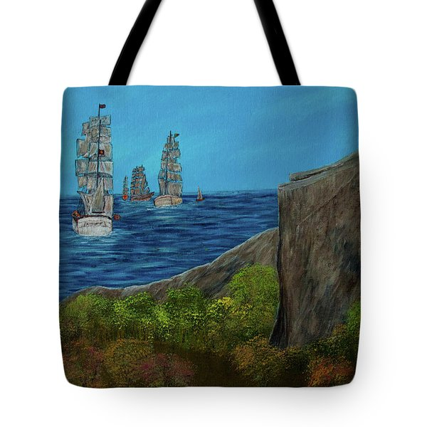 Tote Bag featuring the painting Tall Ships by Randy Sylvia