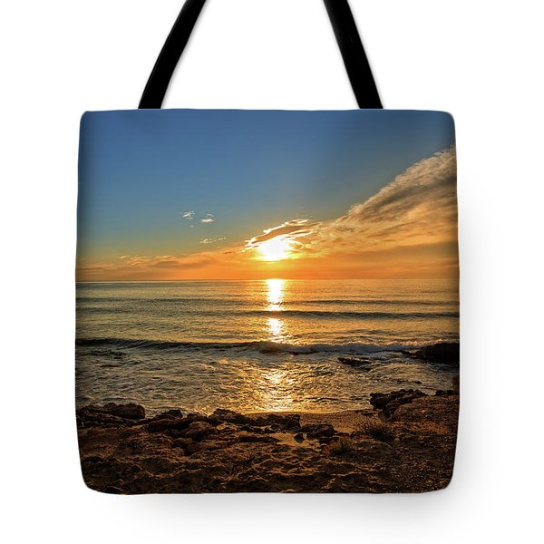 The Calm Sea In A Very Cloudy Sunset Tote Bag