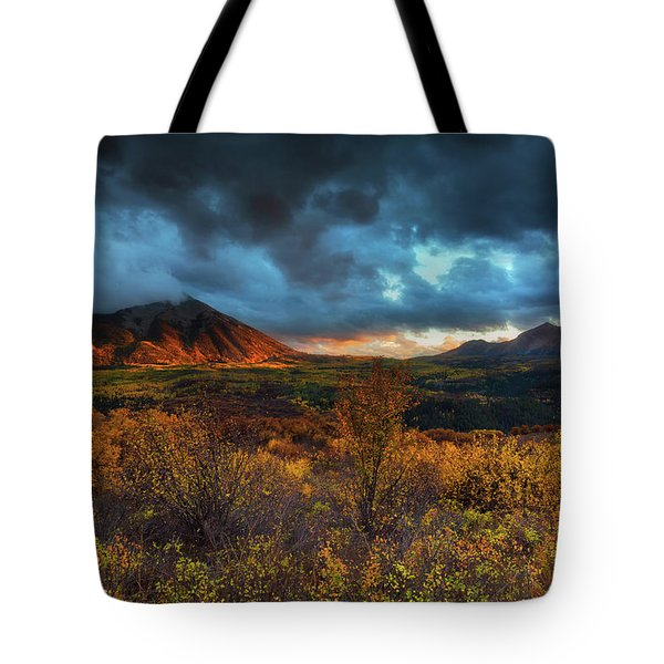 Tote Bag featuring the photograph The Last Light by John De Bord
