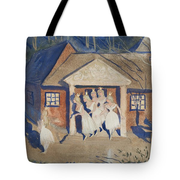 Tote Bag featuring the drawing The Story Of The Six Princesses by Ivar Arosenius