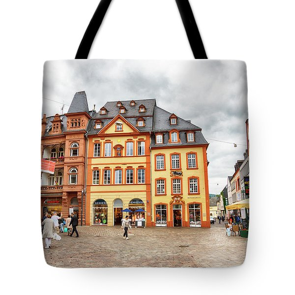 Tote Bag featuring the photograph Trier, Germany,  People By Market Day by Ariadna De Raadt