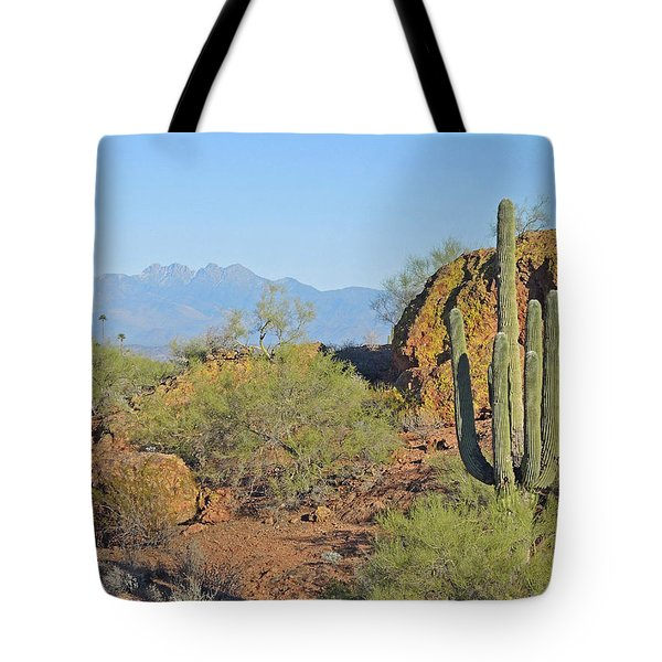 Tote Bag featuring the photograph View To Four Peaks  by Lynda Lehmann