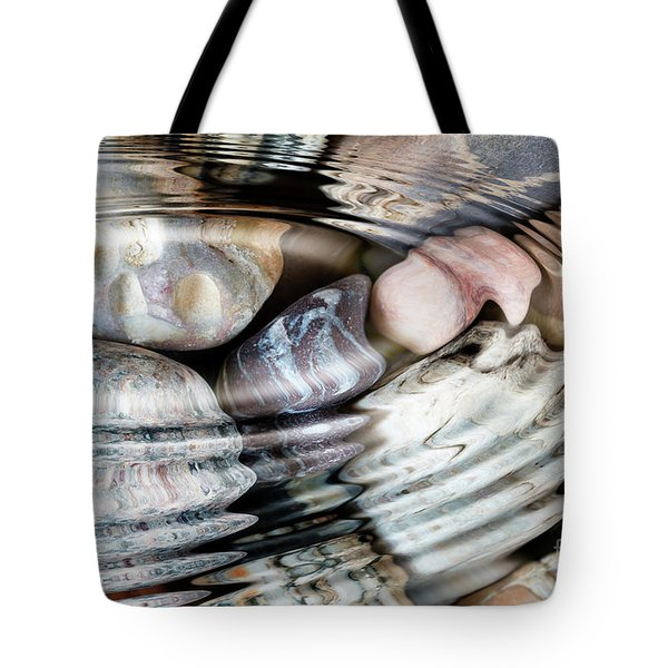 Water Ripples Above Pebble Stones Tote Bag