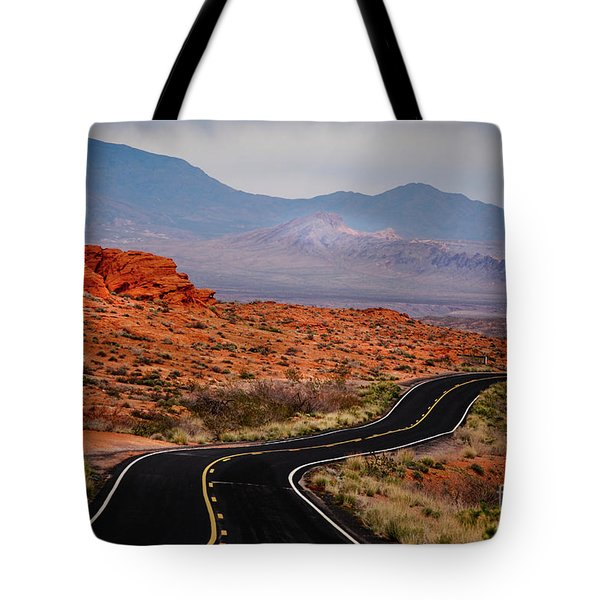 Winding Road In Valley Of Fire Tote Bag