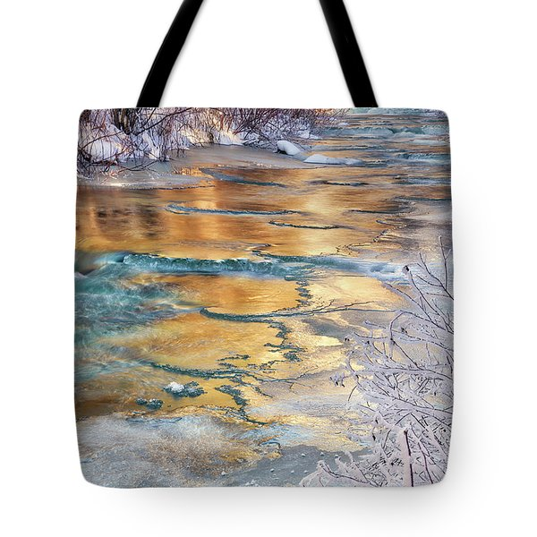 Tote Bag featuring the photograph Winter Azure And Gold by Leland D Howard