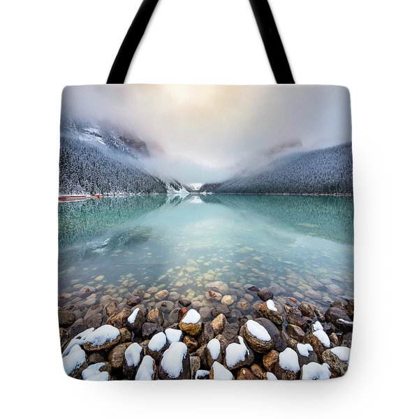 Winter Morning At Lake Louise Tote Bag