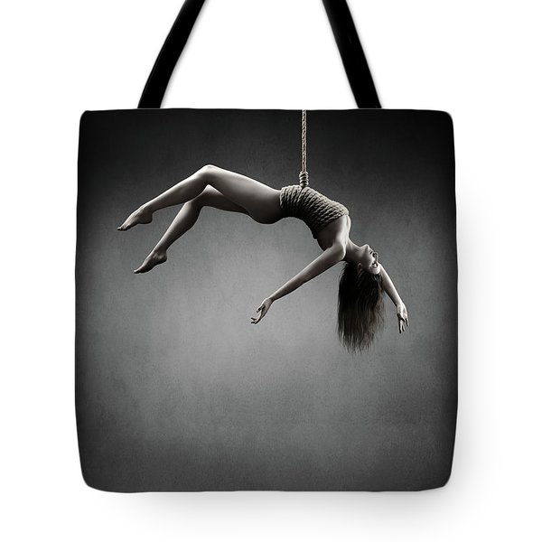 Woman Hanging On A Rope Tote Bag