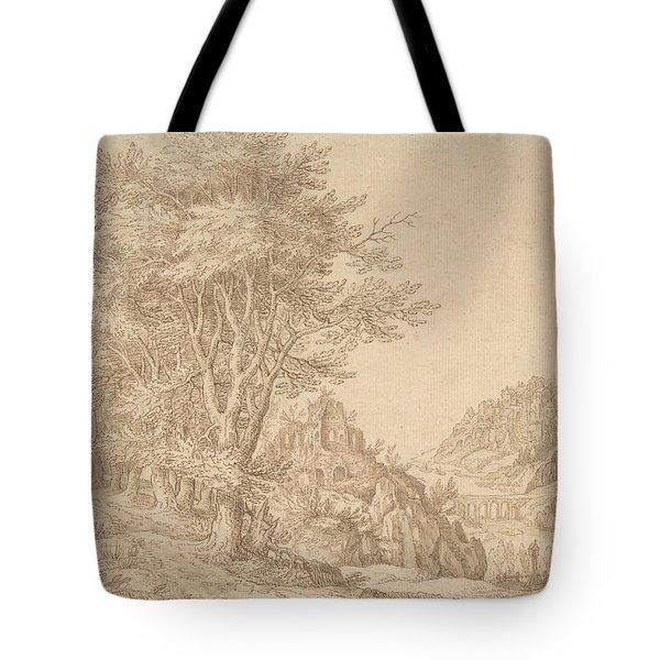Wooded Landscape With A River, Castle, And Town Beyond Tote Bag