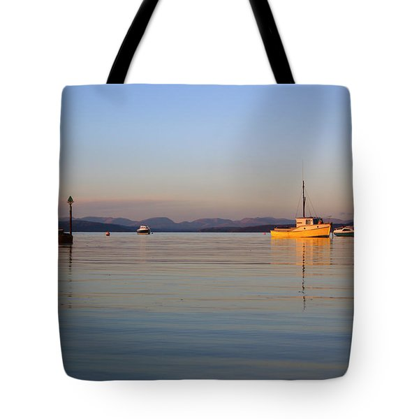 10/11/13 Morecambe. Fishing Boats Moored In The Bay. Tote Bag