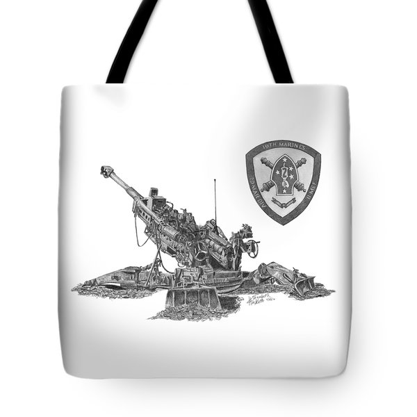 Tote Bag featuring the drawing 10th Marines 777 by Betsy Hackett
