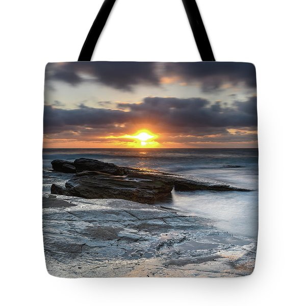 A Moody Sunrise Seascape Tote Bag