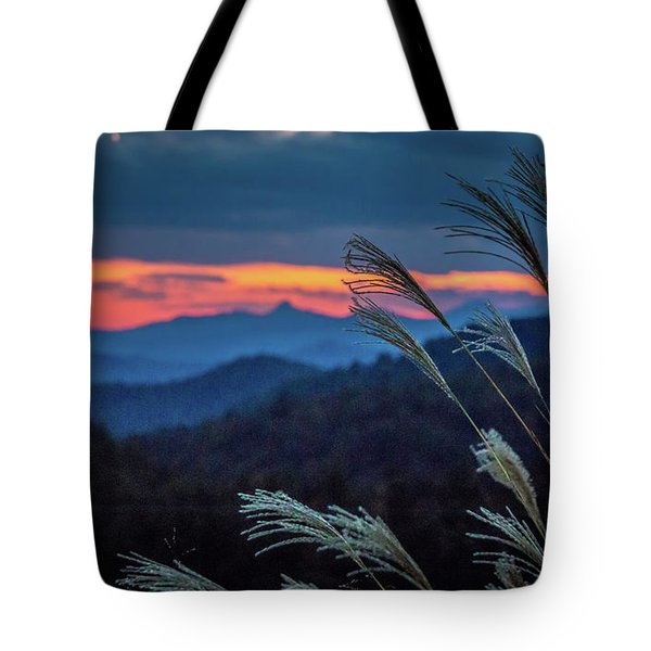 Tote Bag featuring the photograph Sunset Over Peaks On Blue Ridge Mountains Layers Range by Alex Grichenko