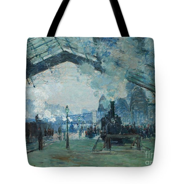 Tote Bag featuring the digital art Arrival Of The Normandy Train, Gare Saint-lazare by Claude Monet