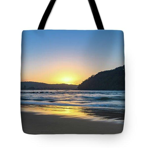 Hazy Sunrise Seascape Tote Bag