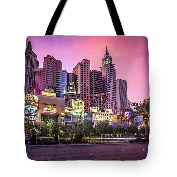 Tote Bag featuring the photograph New York City Skyline In Las Vegas Nevada by Alex Grichenko