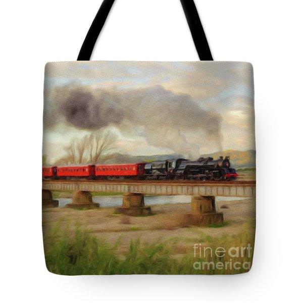 Steam Engine, Locomotive, Train Tote Bag