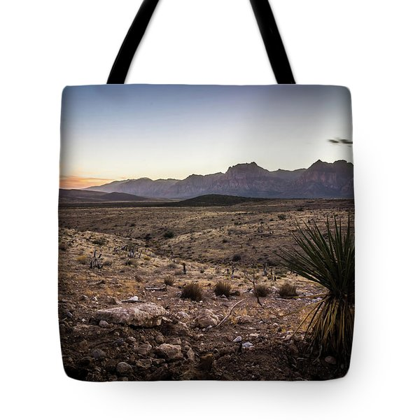 Tote Bag featuring the photograph Red Rock Canyon Las Vegas Nevada At Sunset by Alex Grichenko