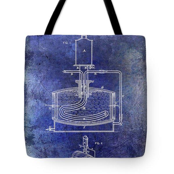 1880 Liquor Aging Patent Blue Tote Bag