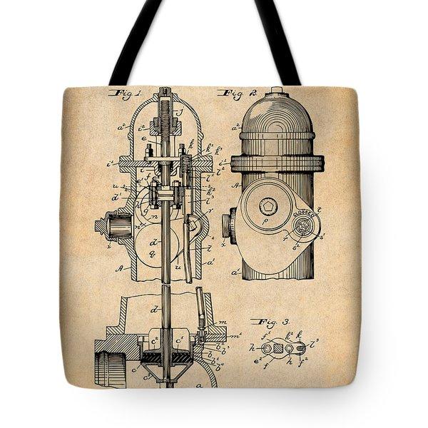 1903 Fire Hydrant Antique Paper Patent Print Tote Bag