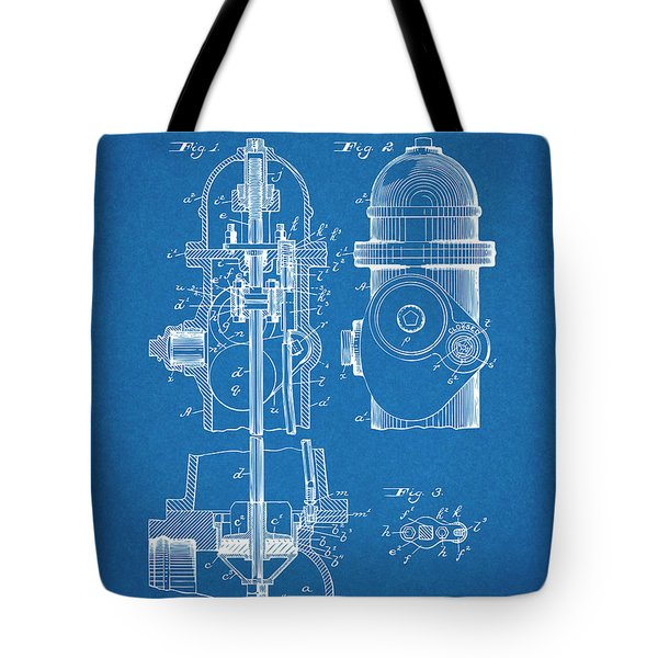 1903 Fire Hydrant Blueprint Patent Print Tote Bag