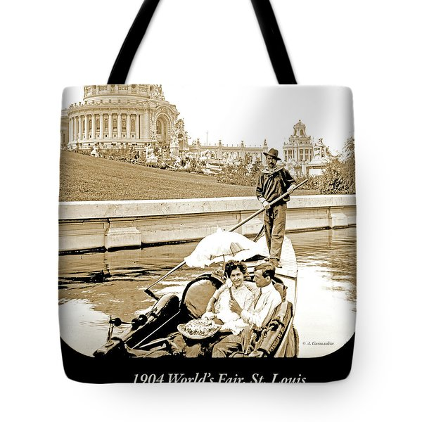 1904 Worlds Fair, Sighteeing Boat, Oarsman And Couple Tote Bag