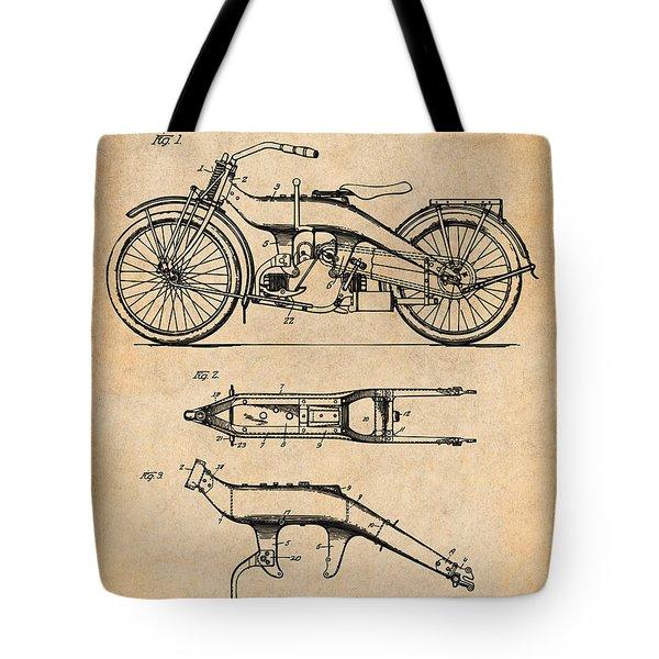 1924 Harley Davidson Motorcycle Patent Print Antique Paper Tote Bag