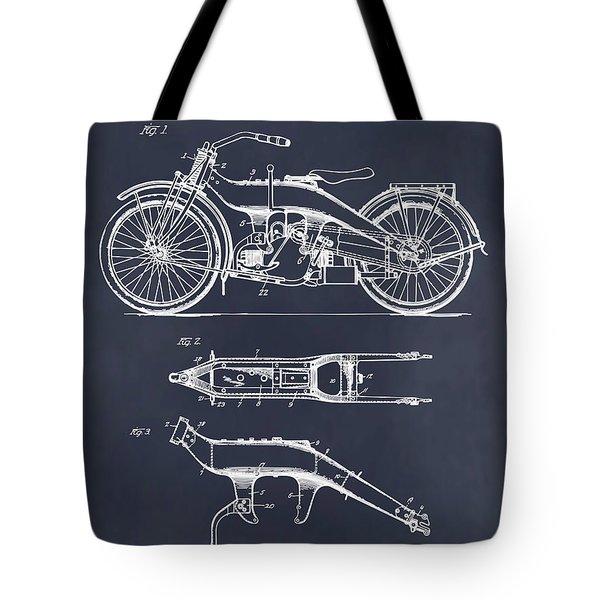 1924 Harley Davidson Motorcycle Patent Print Blackboard Tote Bag