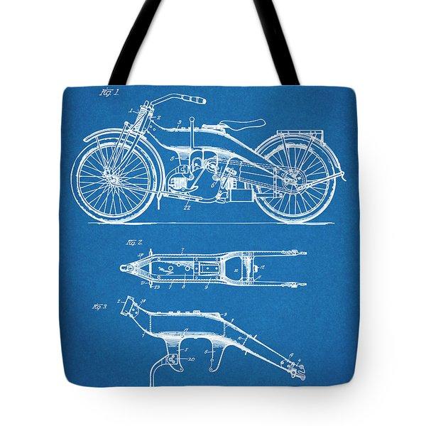 1924 Harley Davidson Motorcycle Patent Print Blueprint Tote Bag