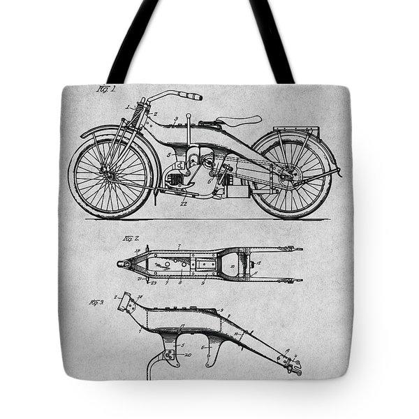 1924 Harley Davidson Motorcycle Patent Print Gray Tote Bag
