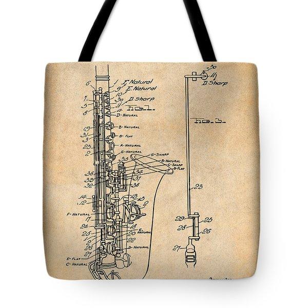 1924 Saxophone Antique Paper Patent Print Tote Bag