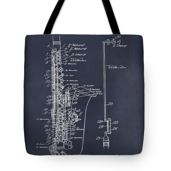 1924 Saxophone Blackboard Patent Print Tote Bag
