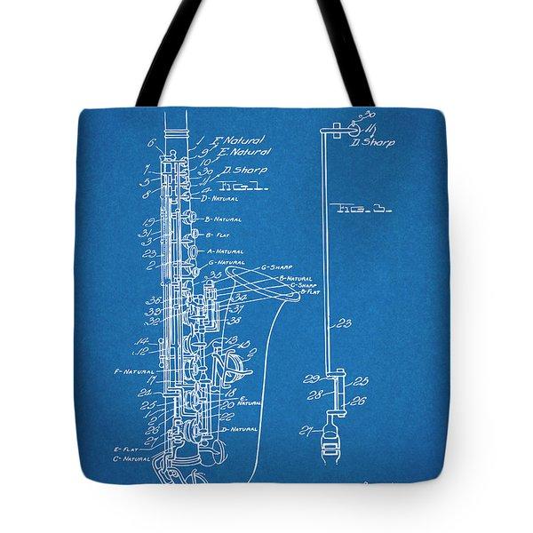 1924 Saxophone Blueprint Patent Print Tote Bag